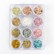Glitter colorido flocado holográfico - 12 cores #g2