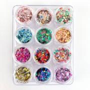 Glitter colorido flocado holográfico - 12 cores #g3