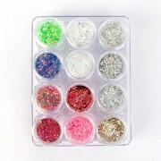 Glitter colorido flocado holográfico - 12 cores #g5