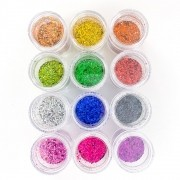Glitter colorido flocado holográfico - 12 cores #pote