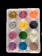 Glitter colorido flocado holográfico - 12 cores #01