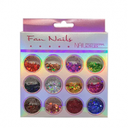Glitter colorido flocado holográfico Fan Nails - 12 cores