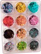 Glitter Fan Nails #01 12 cores