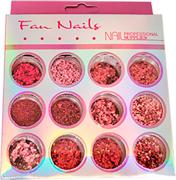 Glitter Fan Nails #02 12 cores