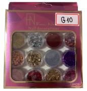 Glitter Fan Nails #G10 -12 cores