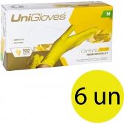 Kit 06 caixas de luva de látex descartável natural conforto yellow sem pó unigloves - 100un TAM M (Médio)