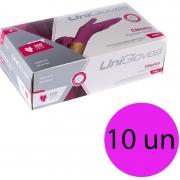 Kit 10 caixas de luva de latex descartável clássico pink com pó unigloves - 100un TAM P (Pequeno)