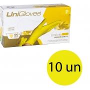 Kit 10 caixas de luva de látex descartável natural conforto yellow sem pó unigloves - 100un TAM P (Pequeno)