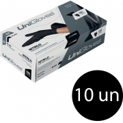 Kit 10 caixas de luva de nitrilo black premium descartável sem pó unigloves - 100un TAM EP (Extra Pequeno)