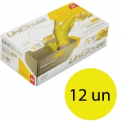 Kit 12 caixas de luva de látex descartável clássico yellow com pó unigloves - 100un TAM EP (Extra Pequeno)