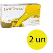 Kit 2 caixas de luva de látex descartável natural conforto yellow sem pó unigloves - 100un TAM P (Pequeno)