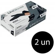 Kit 2 caixas de luva de nitrilo black premium descartável sem pó unigloves - 100un TAM EP (Extra Pequeno)