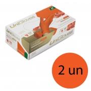 Kit 2 caixas de luva de látex natural conforto orange descartável sem pó unigloves - 100un TAM M (Médio)