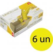 Kit 6 caixas de luva de látex descartável clássico yellow com pó unigloves - 100un TAM EP (Extra Pequeno)