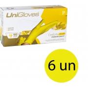 Kit 6 caixas de luva de látex descartável natural conforto yellow sem pó unigloves - 100un TAM P (Pequeno)