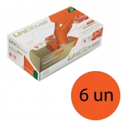 Kit 6 caixas de luva de látex natural conforto orange descartável sem pó unigloves - 100un TAM M (Médio)