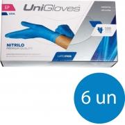 Kit 6 caixas de luva de nitrilo descartável clássico blue com pó unigloves - 100un TAM EP (Extra Pequeno)
