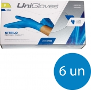 Kit 6 caixas de luva de nitrilo descartável clássico blue com pó unigloves - 100un TAM P (Pequeno)