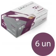 Kit 6 caixas de luva de nitrilo standard premium descartável sem pó unigloves - 100un TAM EP (Extra Pequeno)