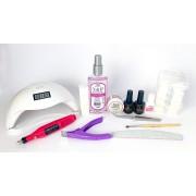 Kit para alongamento com tips + Cabine Sun 48W e Motor lixadeira rosa  - nível básico