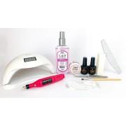 Kit para alongamento de fibra de vidro + Cabine Sun 48W e Motor lixadeira rosa - nível básico