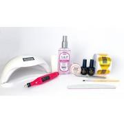 Kit para alongamento em gel com molde adesivo + Cabine Sun 48W e Motor lixadeira rosa - nível básico