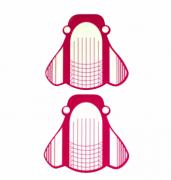Molde adesivo de papel rosa para aplicação de unhas Postiças - 100un