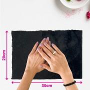 Tapete pelúcia pelo baixo liso para manicure - fundo de foto - preto