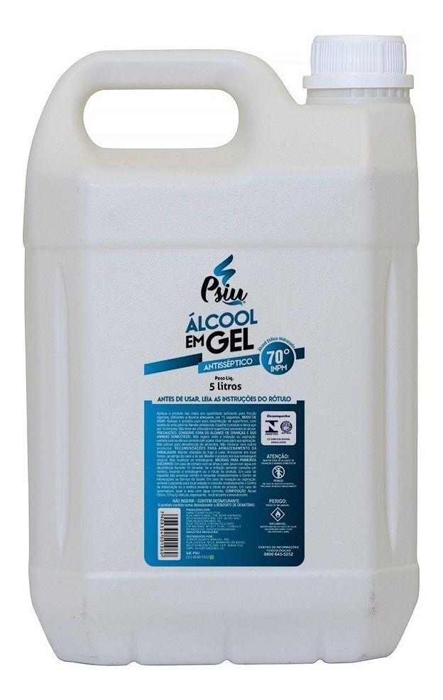 Álcool em gel 70% inpm antisséptico 5 litros - psiu