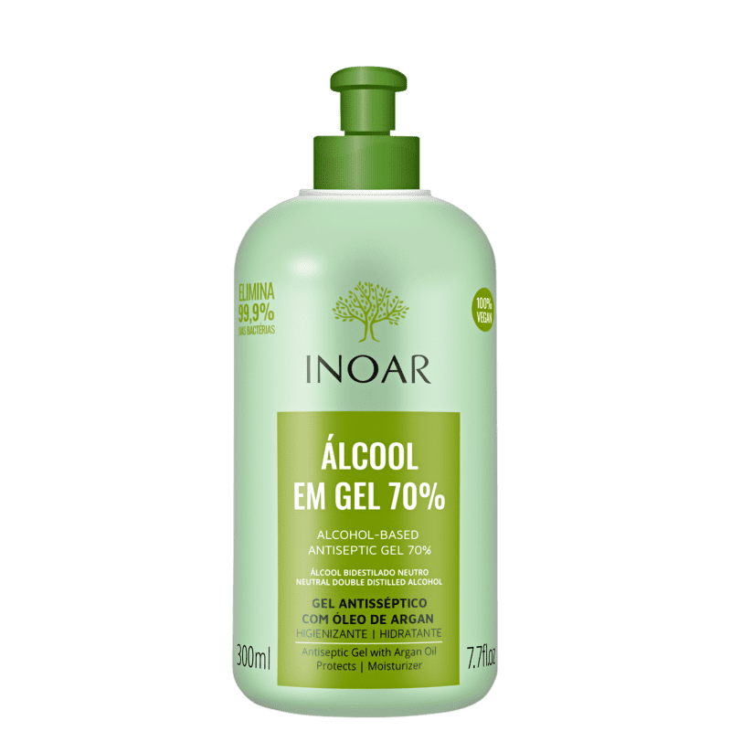 Álcool em gel 70% - vegano - com óleo de argan - inoar
