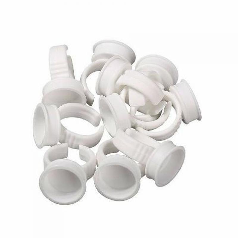 Anéis Batoque descartáveis BRANCO para alongamento de cílios 50un