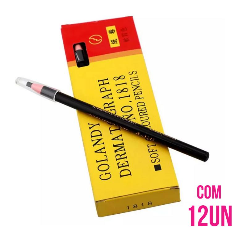 Caixa lápis dermatográfico para sobrancelha PRETO com 12 Un