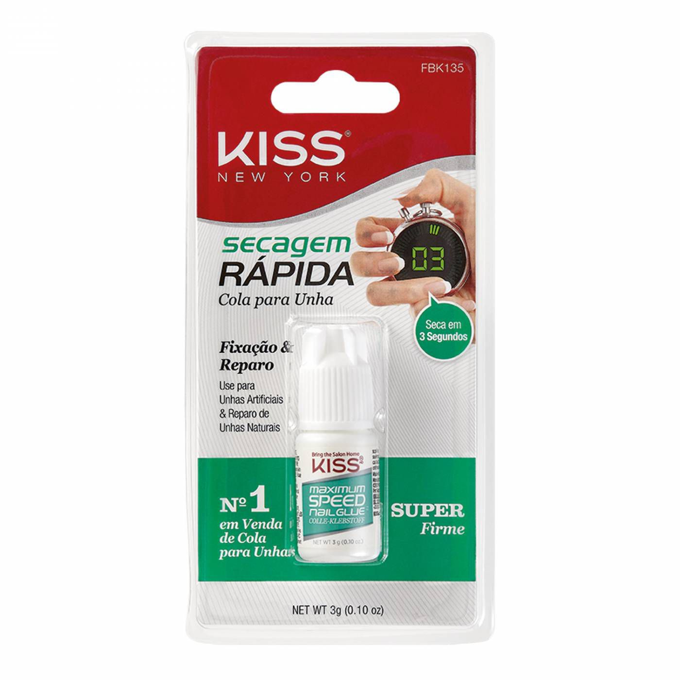 Cola para unhas postiças - secagem rápida 3g Kiss Ny FBK135