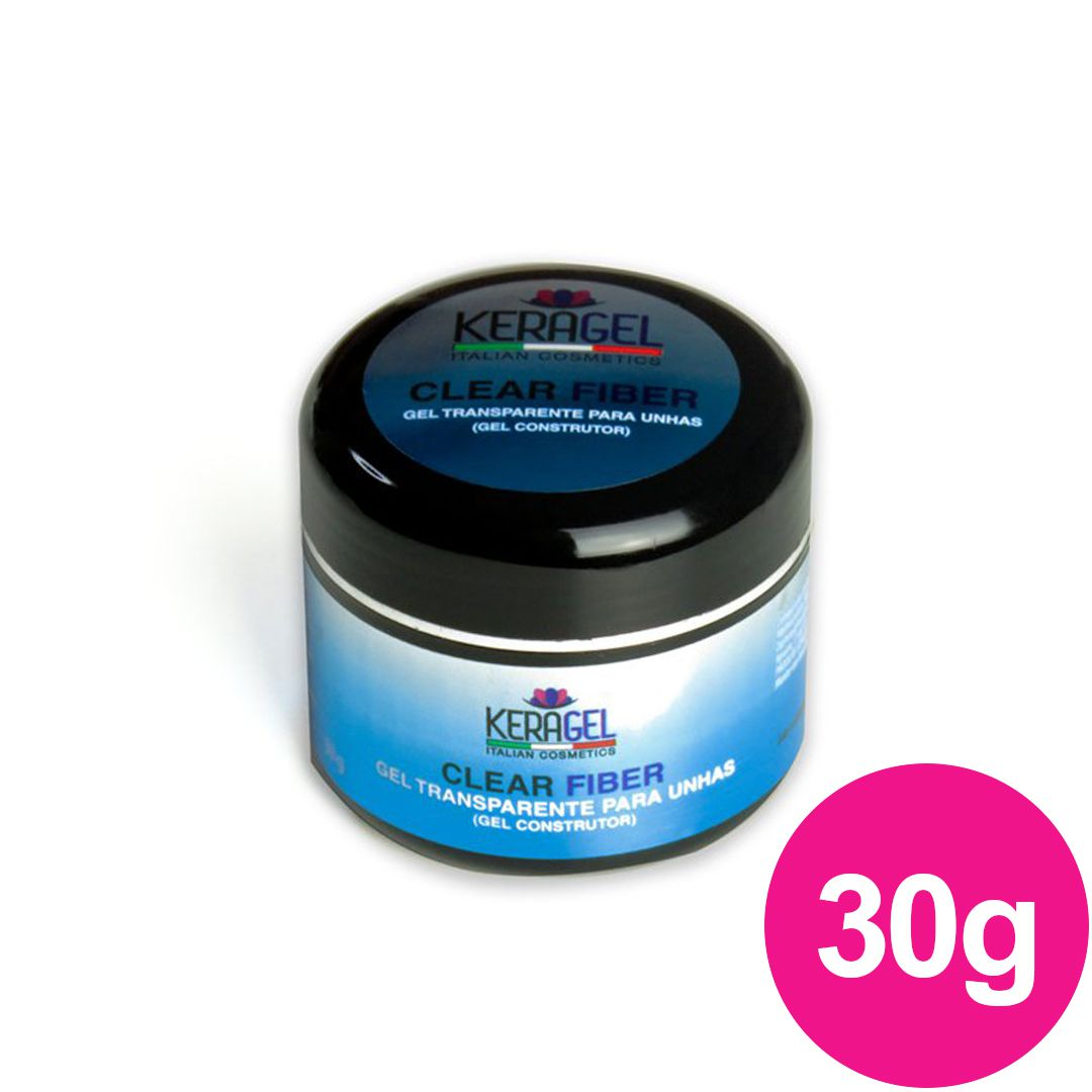 Gel para unhas com Pó - CLEARFIBER CLEAR ou TRANSPARENTE 30g Gel UV/LED KERAGEL