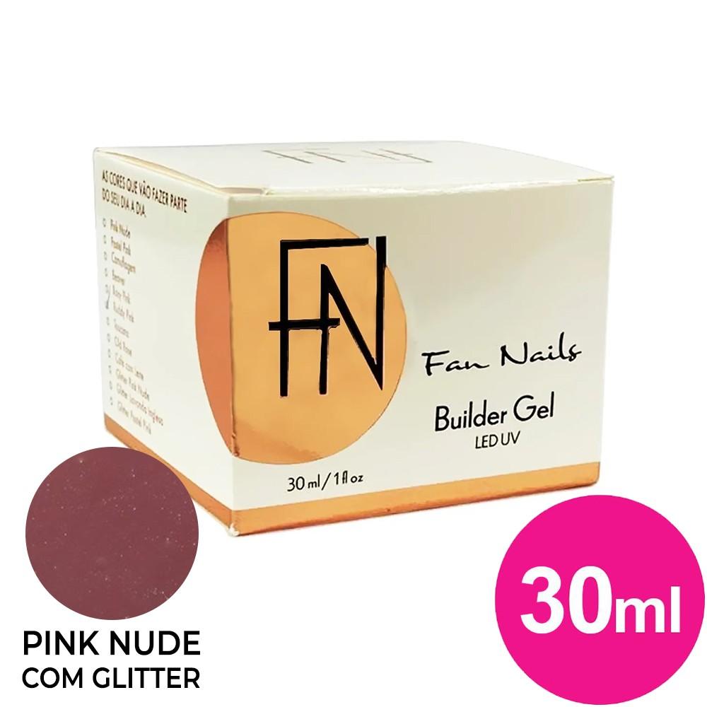 Gel para unhas - fan nails builder gel de 30g glitter pink nude (alongamento) uv/led