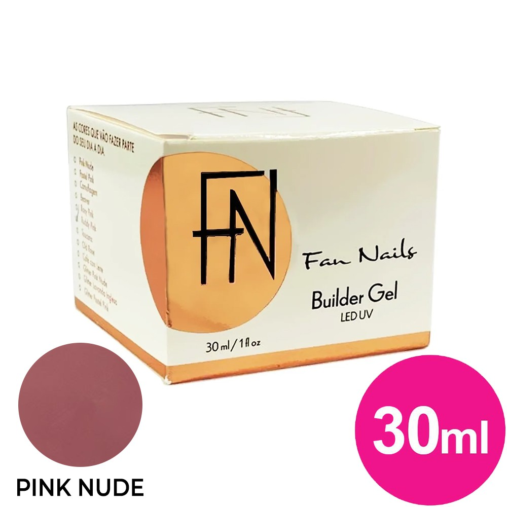 Gel para unhas - fan nails builder gel de 30g pink nude (alongamento) uv/led