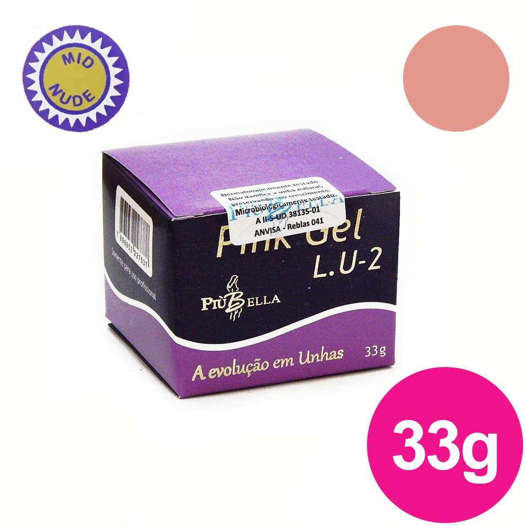 Gel para unhas piu bella lu2  pink mid nude 33g