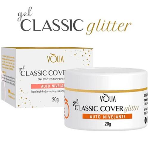 Gel para unhas - vòlia de 24g classic cover C/ GLITTER gel construtor (alongamento) uv/led