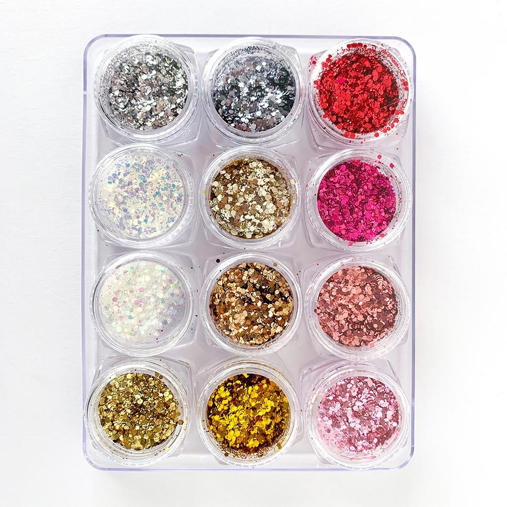 Glitter colorido flocado holográfico - 12 cores #g1