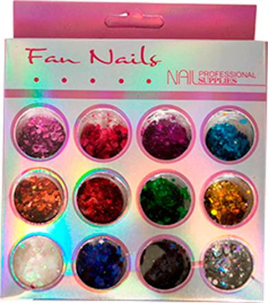 Glitter Fan Nails #03 12 cores