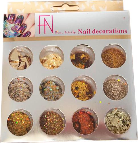 Glitter Fan Nails #06 12 cores