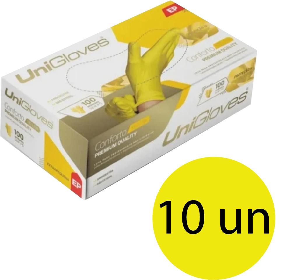 Kit 10 caixas de luva de látex descartável natural conforto yellow sem pó unigloves - 100un TAM EP (Extra Pequeno)