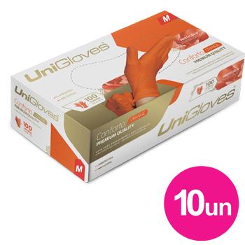 Kit 10x caixas de luva de latex natural conforto orange descartável sem pó unigloves - 100un TAM M - 50-M