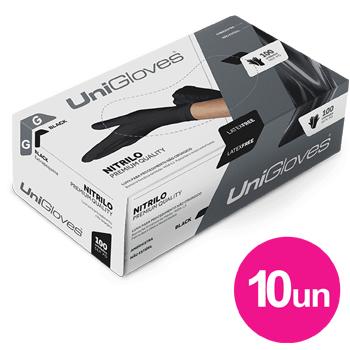 Kit 10x caixas de luva de nitrilo black premium descartável sem pó unigloves - 100un TAM G - 100-G