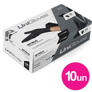 Kit 10x caixas de luva de nitrilo black premium descartável sem pó unigloves - 100un TAM M - 100-M