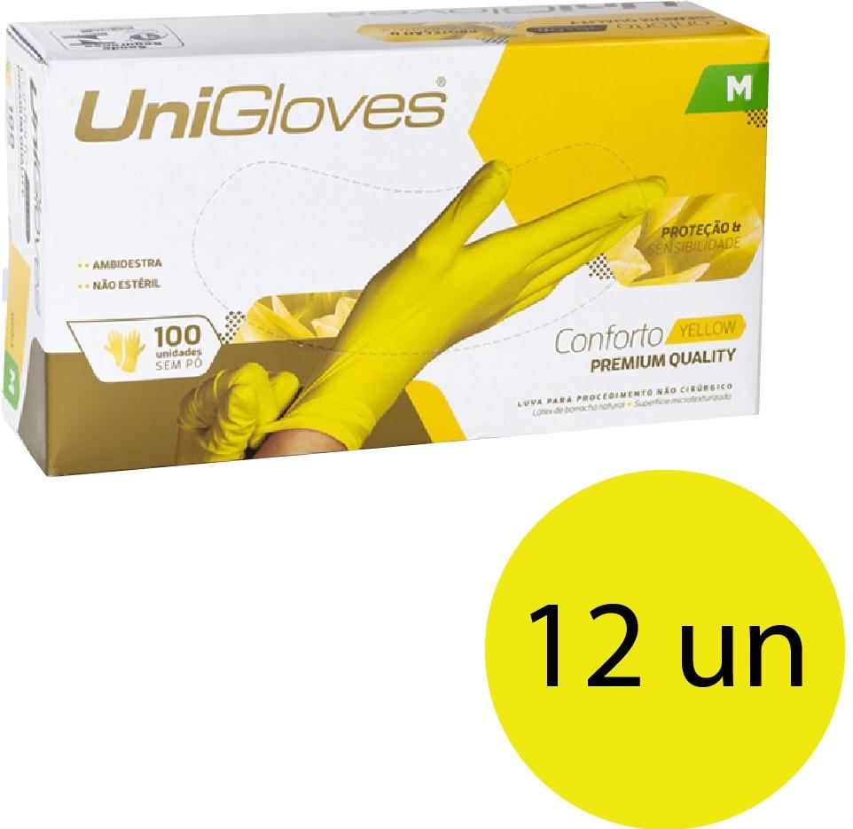 Kit 12 caixas de luva de látex descartável clássico yellow com pó unigloves - 100un TAM M (Médio)