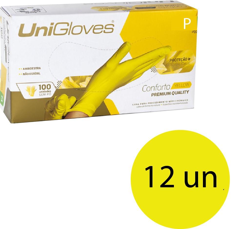 Kit 12 caixas de luva de látex descartável clássico yellow com pó unigloves - 100un TAM P (Pequeno)