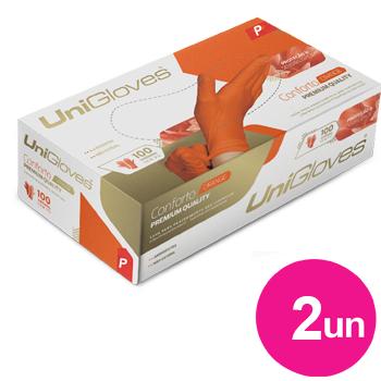Kit 2x caixas de luva de latex natural conforto orange descartável sem pó unigloves - 100un TAM P - 50-P