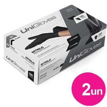 Kit 2x caixas de luva de nitrilo black premium descartável sem pó unigloves - 100un TAM EP - 100-EP