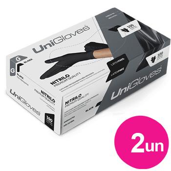 Kit 2x caixas de luva de nitrilo black premium descartável sem pó unigloves - 100un TAM G - 100-G